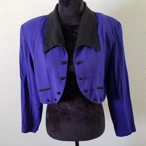 3/$20 VTG 80's Menu Purple Cropped Blazer